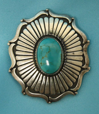 VTG Navajo Marked Sterling Silver & Turquoise Pendant! Gorgeous!