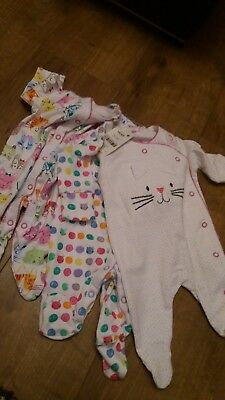 next new with tags baby girl sleepsuits newborn