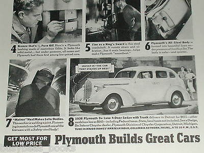 1938 Plymouth ad, De Luxe Sedan, Metal use
