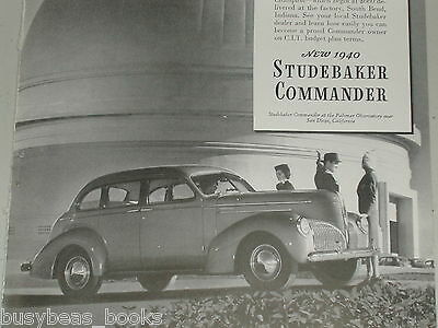 1940 Studebaker Commander advertisement, beside Palomar Observatory