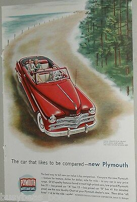 1949 Plymouth advertisement, Plymouth convertible, red with white-walls