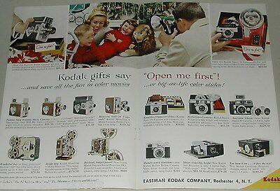 1958 KODAK 2-page advertisement, Cameras & Projectors, Open Me First, Christmas