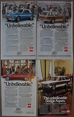 1976 Dodge ASPEN advertisements x4 DODGE Aspen ads sedan wagon with Rex Harrison