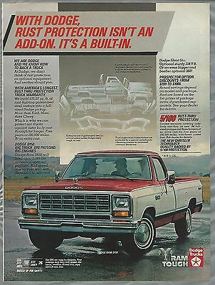 1984 DODGE RAM pickup advertisement, Dodge D150 ad, rust proofing