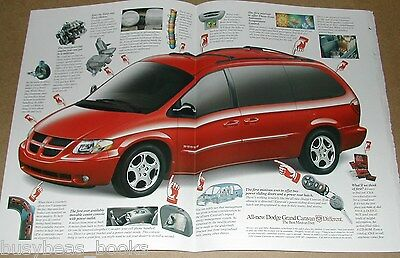 2001 Dodge Caravan 3-page advertisement, red minivan