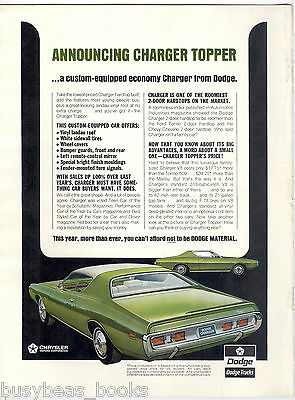 1971 DODGE CHARGER advertisement, Dodge Charger landau roof offer