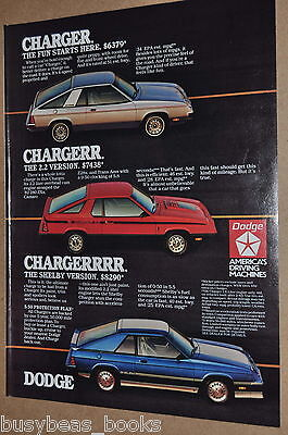 1983 Dodge advertisement, DODGE Charger, regular, 2.2 and SHELBY versions