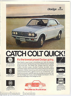 1972 DODGE COLT advertisement, small light-blue Chrysler Dodge Colt