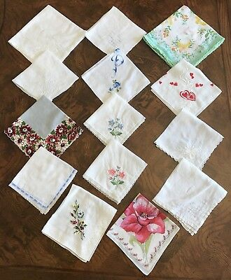 Estate Lot of 14 Vintage Handkerchiefs Hankies Hanky Embroidered Crochet Floral