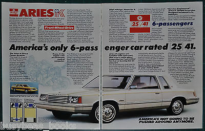 1981 DODGE ARIES K 2-page advertisement, Dodge Aries K-car coupe & wagon