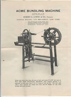 c1907 Acme Bundling Machine Ad/Letter – Robect C. Lowery 1170 Broadway, NYC