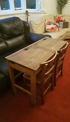 Vintage Old Double School Desk (with chairs)