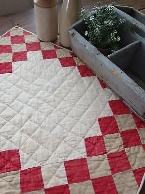 "Primitive Antqiue Turkey Red & Tan Farmhouse Table or Doll QUILT 23"" x 18"""
