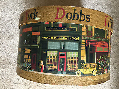 ANTIQUE VTG FEDORA CARDBOARD HAT BOX Dobbs Fifth Avenue with scenes of New York