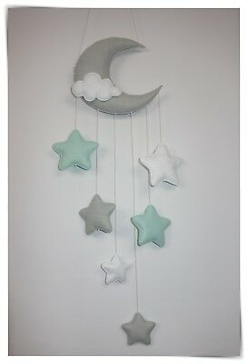 Moon and stars nursery decor/baby mobile (grey, pastel mint,,white)