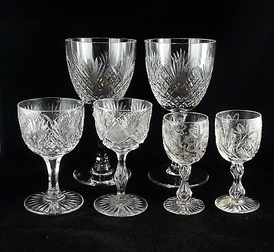 Dealer Lot - 6 Pieces Cut Crystal Stemware - Goblets, Wines, Waters
