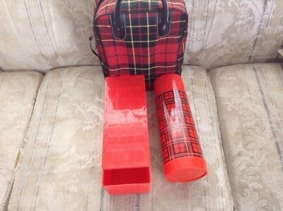 Vintage Aladdin Thermos Glass Red Black Plaid Checkered Lunch Bag combo