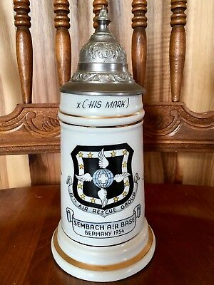 12th Air Rescue Group 1954 Vintage Sembach Air Base Germany Lidded Beer Stein