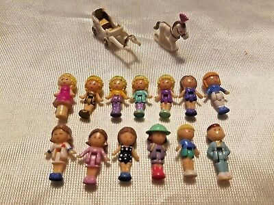 Lot of Vintage Bluebird Polly Pocket Figures 13 Dolls Doll Horse & Carriage