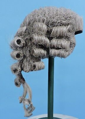Early 19Th C Men'S Stiff Horsehair Powder Wig W Double Pony Tail Rear