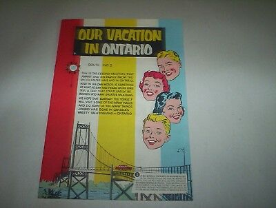Vintage Province of Ontario Canada Our Vacation in Ontario Comic Book Brochure