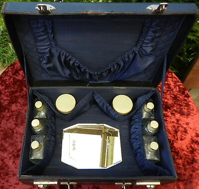 Antique Ladies Leather Traveling Vanity Case with Enamelled Bottles and Mirror