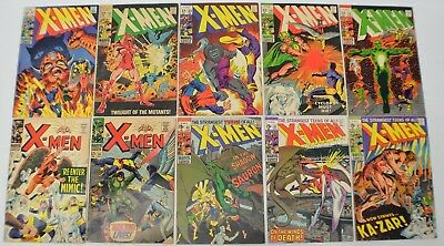 Marvel X-Men Silver Age Lot of 10 books 27,36,51,52,53,54,55,60,61,62,