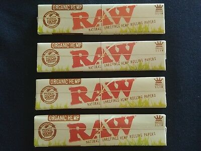 4 x Raw Organic Hemp King Size Slim Rolling Papers Natural Unrefined 110mm