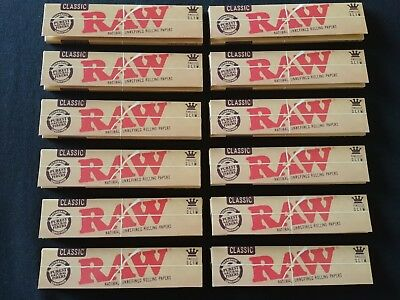 12 x Raw Classic King Size Slim Rolling Papers Natural Unrefined Organic 110mm