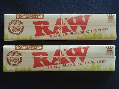 2 x Raw Organic Hemp King Size Slim Rolling Papers Natural Unrefined 110mm