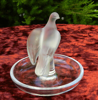 Signed Lalique France Frosted Crystal Love Bird Dove Art Glass Pin Dish