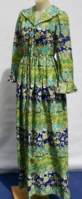 VINTAGE 1970s Evening DRESS, Cocktail, Floral HIPPIE, Party, Dress Up DRAMA, 6-8