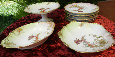 Limoges Porcelain CFH GDM France 9 pc Dessert Service incl. Comport Circa 1880