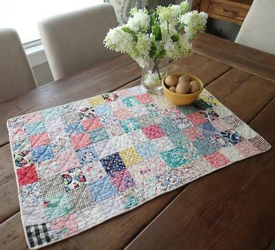 Charming Vintage Feedsack Table Doll or Crib Quilt 29x18 Cottage Home