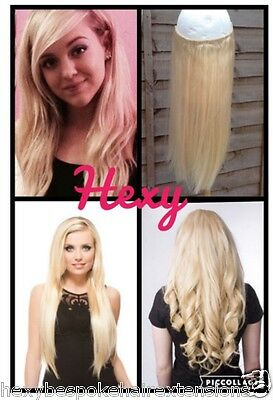 100G In #60 Lightest Blonde Miracle Wire Halo Human Hair Extensions Secret Flip