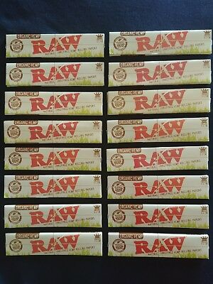16 x Raw Organic Hemp King Size Slim Rolling Papers Natural Unrefined 110mm