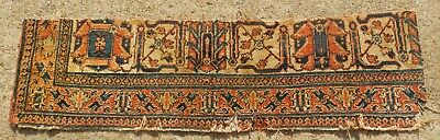 """ANTIQUE EARLY 19th CENTURY PERSIAN ORIENTAL RUG FRAGMENT SIZE 1' x 3' 9"""""""