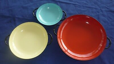 """Vintage French Enamel """"Sizzling Servers"""" Cookware By Caravelle  3 Piece Set"""