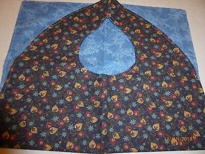 "Adult Bibs / cover-ups for adults, seniors, disabled/ bibs; ""Navy with flowers"""