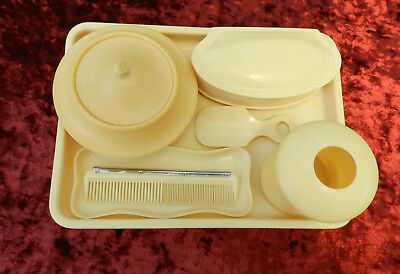 Art Deco 7 pc Bakelite Dressing Table Set