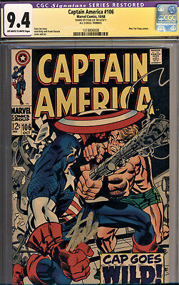 Captain America #106 Cgc 9.4 Ss By Stan Lee~Jack Kirby Cover & Art~Trimmed
