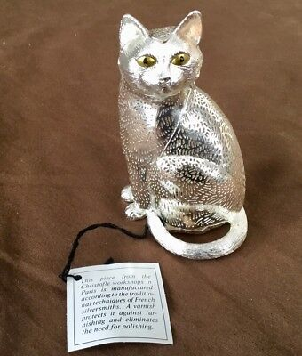 CHRISTOFLE Paris Silver Plated Cat