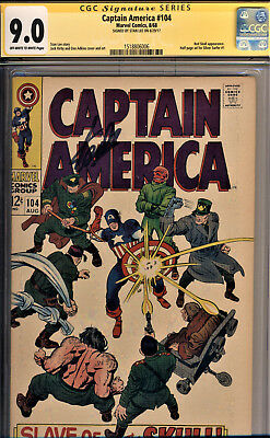 Captain America #104 Cgc 9.0 Ss Stan Lee~Ad For Silver Surfer #1-Jack Kirby Art!