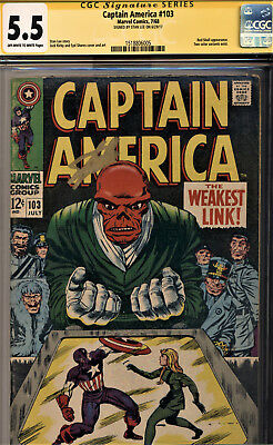 Captain America #103 Cgc 5.5 Ss Stan Lee~Jack Kirby Cover And Art! The Red Skull