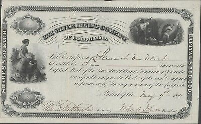 Roe Silver Mining Company of Colorado 1871 Issued Stock Certificate