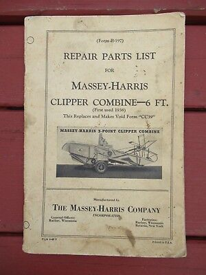 1940 Massey Harris Clipper Combine 6ft Repair Parts List R-197 Original / Manual