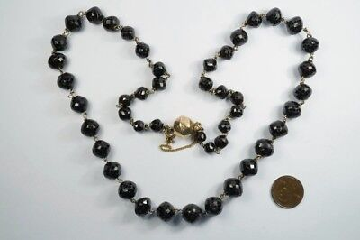 ANTIQUE FACETED GARNET BEAD NECKLACE w/ 9K GOLD CLASP c1800's $1 NO RESERVE