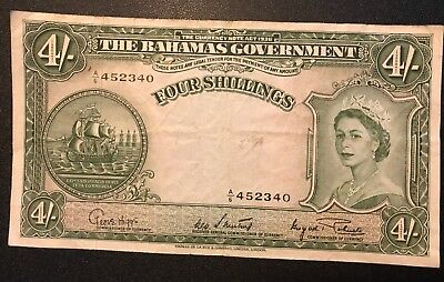1953 Series 1936 FOUR SHILLINGS NOTE from THE BAHAMAS GOVERNMENT A6