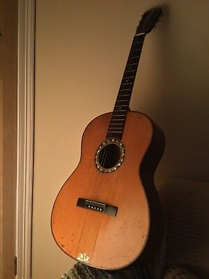 Old Classical 6 String Guitar ( with Beautiful abalone Inlays )
