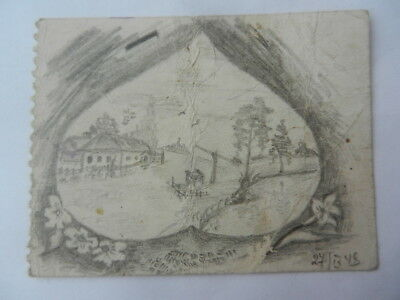 Artist image 1948 Pencil draving UKRAINE Paper 78x59 mm